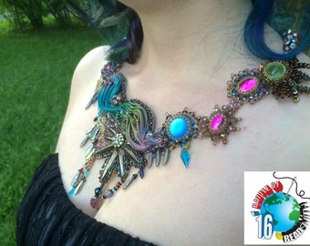 "Shibori Bead Embroidery Vintage Necklace ""Blues In The Night"""