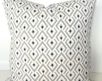 TAN PILLOWS Tan Decorative Pillow Covers 16x16  Taupe Ecru Pillow Covers Khaki Navy Blue Pillows 16x16 Home Decor