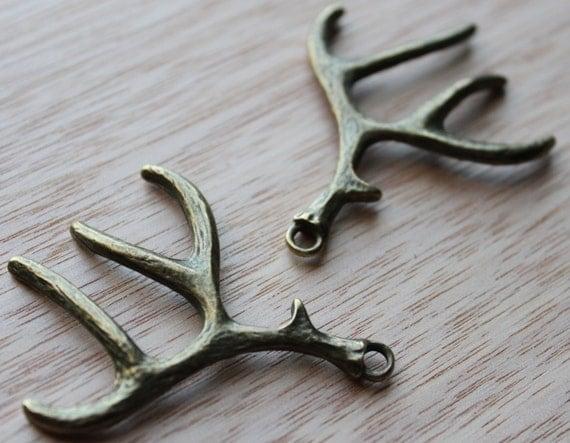Jewelry Supplies- 2 pieces. 40mm Antique Bronze Deer Antlers Charm Pendant - Little Laser Lab