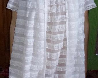 Vintage 60's St Michael white  peignoir negliglee set  burlesque