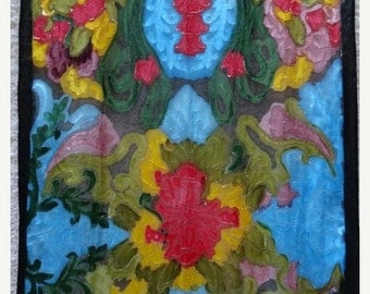 Silk scarf hand painted artisan accessory shawl wrap, multi color textured one of a kind, unique gift woman, Made in the Hudson Valley