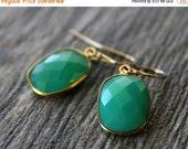 Summer Sale Small Chrysoprase Green Chalcedony Drop Earrings, Emerald Green, Large Dangle, Large Drop, Gold Vermeil, Huge Teardrop