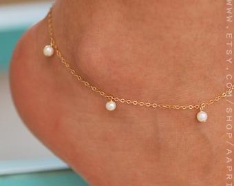 Gold anklet, pearl anklet, Pearl ankle bracelet, Ankle jewelry, Gold ankle bracelet, bridesmaid bracelet, gold silver anklet, gift for her