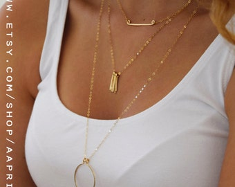 Set of 3 Layered Necklaces, Layered Necklaces Set in gold filled or silver, Layering Necklaces Layered and Long