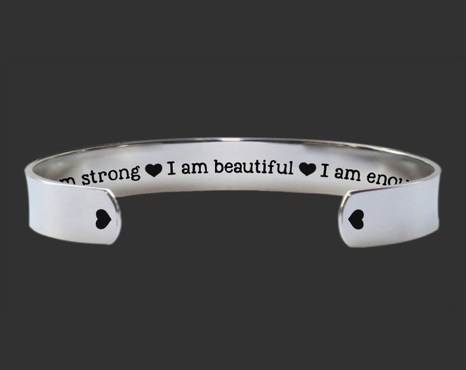 Inspirational | Encouragement Gift | Gifts for Friends | Teen Gifts | Daughter Gift | I Am Enough | Bracelet Korena Loves