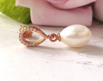 Rose Gold , Bridal Earrings, Freshwater Pearl Bridal Earrings, Teardrop Pearl Earrings, Wedding Jewelry, white CZ , stud earrings
