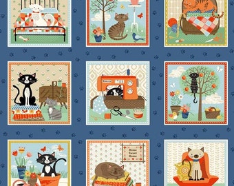 Crafty Cats Quilting Label Squares fabric - Makower UK Andover - by the continuous YARD