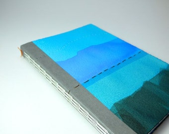 A6 Notebook, journal or sketchbook with blue and grey covers