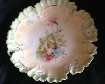 RS Prussia style vintage decorating plate hand painted flowers