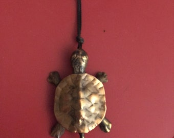 bronze and copper turtle pendant