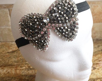 Black and Silver Beaded Headband, Baby Girl Headbands, Girl Beaded Headband, Women Beaded Headband, Infant Girl Beaded Headband