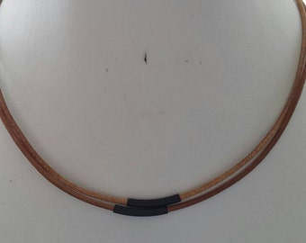 Double Strand Tan Leather Necklace with Black Plates Tube Beads and Antique Silver Square End Caps