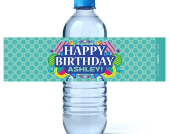 Birthday Water Bottle Labels - Adult Birthday Water Bottle Label - Personalized Water Bottle -  Birthday Decor