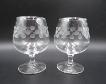 Pair of Etched Polka Dot Snifters - Polka Dot Clear Glass Brandy Snifters - Cognac Stemware - Elegant Etched Glass Stemware - Set of Two