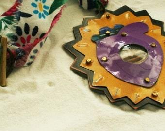 Reclaimed tin SPEAK talisman necklace