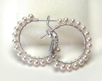 """Classic White Pearl Hoop Earrings (20mm, Beaded 1"""") - Swarovski Crystal Pearls, Wire Wrapped Silver Plated Hoops with Posts & Leverbacks"""