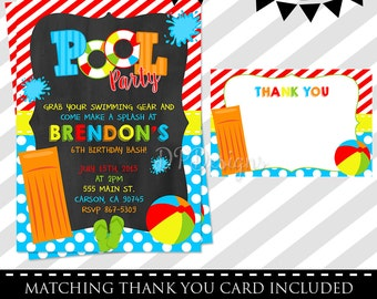 Pool Party Invitation - FREE Thank You Card