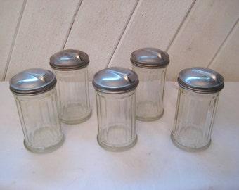 Jar sugar container, diner sugar dispenser, heavy glass, restaurant sugar bowl, mid century, 50s 60s, made in USA, 1233
