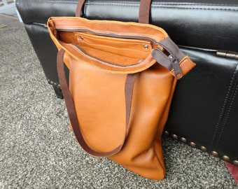 FREE SHIPPING. brown bag, leather tote, leather bag,