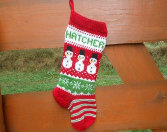 Personalized Christmas Stocking Hand Knitted With Snowman Christmas Gift Christmas Decoration