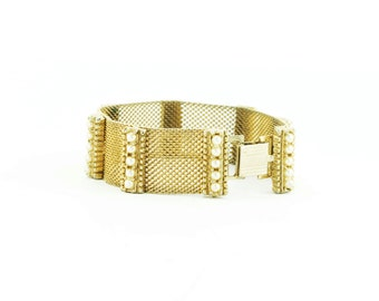 Victorian Style Gold Mesh Pearl Bracelet