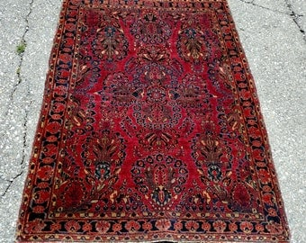 Persian Rug - 1920s Hand-Knotted Antique Sarouk Persian Rug (3400)