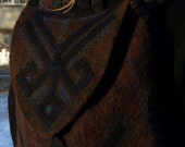 """Unique backpack """"Equilibrium"""", embroidered felting and fabric, dark brown and black, colors"""