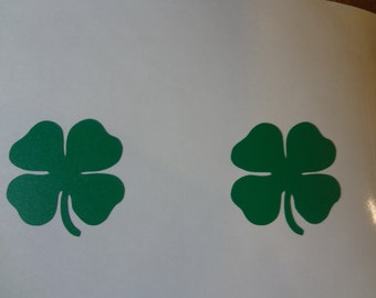2 Shamrock Decal Label Vinyl Sticker Car Glass Truck Van DIY Craft Green Luck Of The Irish Go Green Lucky St Patricks Day Claddagh Luck