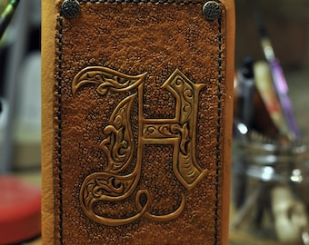 Leather cover with carved letters for slim diary, organizer, telephone book