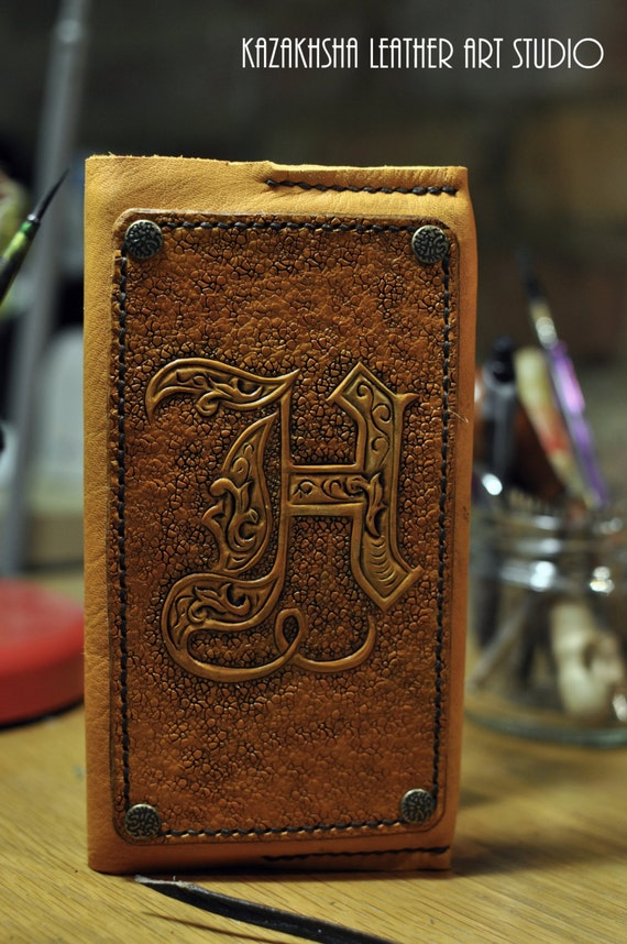 Leather cover with carved letters for slim diary organizer