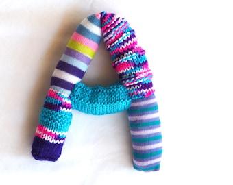 Knitted letter A, alphabet, sock letter A, initial letter, nursery art, alphabet sock toy