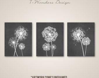Dandelion Wall Art Prints, Charcoal Grey Flower Art, Living Room Bedroom Bathroom Floral Art Set of (3) 5x7, 8x10 or 11x14, Home Decor