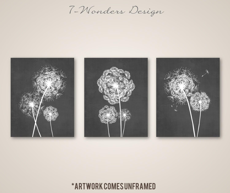 Dandelion Wall Art Prints Charcoal Grey Flower Art Living Room Bedroom Bathroom Floral Art