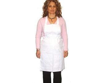 White Full Chef Apron Cotton (with Pocket)  by the dozen