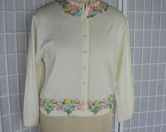 1950s Dalton Cashmere Sweater with an Applique  Embroidered SPRING GARDEN.......size Medium to Large