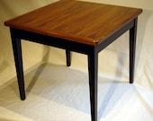 "Child's Table, 22"" square, 19-1/4"" high, Black Walnut top, Black base, kids, side table"
