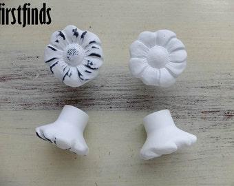 4 Knobs White Flower Drawer Pulls Shabby Chic Kitchen Hardware Cabinet Painted Cottage Door Cupboard Decor Resin Plastic ITEM DETAILS BELOW