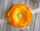 "Newborn prop - 3.5"" satin flower - Pearl/rhinestone center -Gold flower - Headband or clip - Bridesmaid - Wedding decor - Bridesmaids hair"