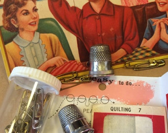 vintage sewing, sewing lot, needle craft supplies, sewing thimbles, sewing supplies, craft supplies