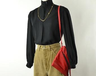 Vintage  80s High Collar Sheer Black Blouse