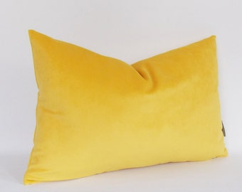 Velvet Cotton Yellow Lumbar Pillow Cover, Decorative Pillow, Throw Yellow Pillow, All Size