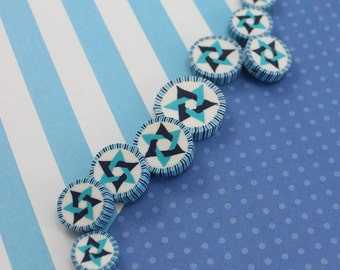 Star of David beads, Jewish Symbol in blues turquoise and white, polymer clay round flat beads, set of 9 Polymer clay beads
