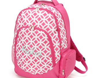 SALE - Pink Sadie Design Backpack - May be Monogrammed or Personalized with Embroidered Name - Back to School Book Bag in Hot Pink Geometric