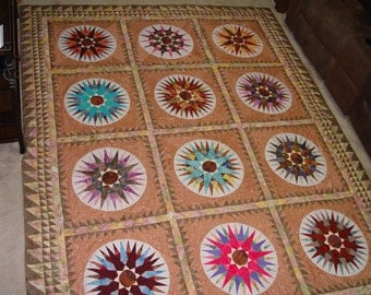Changing Course Compass quilt, custom quilted, Batik fabrics, queen-size, 101 x 78.5