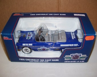 Vintage Racing Champions 1955 Chevrolet Convertible Car, Indie 500, Diecast Metal Coin Piggy Bank 1995, 1/24 Scale, In Box