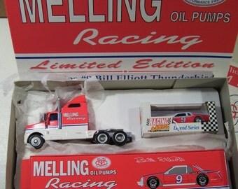 Vintage RCCA Nascar Bill Elliott Melling Racing Team Hauler Semi Die-cast Truck & #9 Die-cast Thunderbird Car, 1993