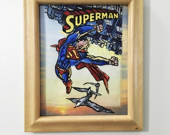 Superman Comic Book Cover Glass Painting
