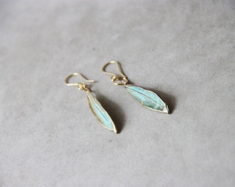Olive leaves earrings, gold and vertigris, electroplated drop earrings of olive leaves, real olives leaves earrings, Greek olive leaves