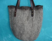 Large wet felted tote bag pure wool real leather handles