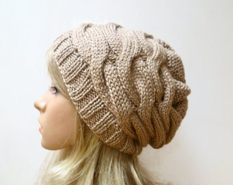 Cable Slouchy Beanie - Hand Knited Hat - Women Knit Hat - Merino Wool Silk Slouch Beanie - Beige Cabled Knit Slouchy Hat - ClickClackKnits